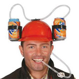 helmet of the birthday boy with beer holder and straw